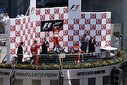 July 2, 2006: Indianapolis Motorspeedway. Michael Schumacher, Scuderia Ferrari, 248 F1, Giancarlo Fisichella and Felipe Massa with Ross Brawn
