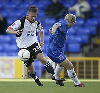 Photo. Aidan Ellis.Digitalsport<br /> Stockport County v Luton Town.<br /> Coca-Cola League Division 1.<br /> 18/09/2004.<br /> luton's Sol Davis beats Stockport's Derek Greary