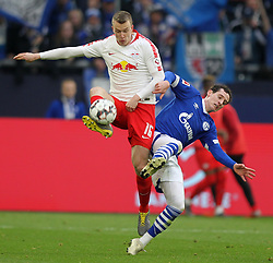 March 16, 2019 - Gelsenkirchen, Germany - Sebastian Rudy of Schalke 04, right, and Lukas Klostermann of RB Leipzig are seen in action during the German Bundesliga soccer match between FC Schalke 04 and RB Leipzig in Gelsenkirchen. (Credit Image: © Osama Faisal/SOPA Images via ZUMA Wire)