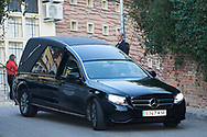 Funeral car with feretro or Pilar Borbon attends Princess PIlar Borbon funeral chapel  installed in the Gomez-Acebo house on January 8, 2020 in Madrid, Spain