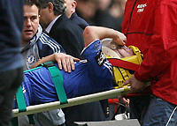 Photo: Rich Eaton.<br /> <br /> Chelsea v Arsenal. Carling Cup Final. 25/02/2007. John Terry of Chelsea leaves the field on a stretcher after a second half injury