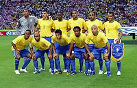 Brazil Team Group World Cup 2006<br />(L to R Back Row) Dida/Lucio/Juan/Adriano/Emerson/Cafu<br />(L to R Front Row) Ronaldinho/Roberto Carlos/Kaka/Ze Roberto/Ronaldo<br />Brazil V Croatia (1-0) 13/06/06 Group F<br />World Cup 2006<br />Photo Robin Parker Fotosports International