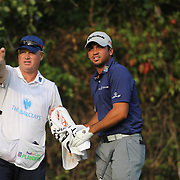 Jason Day, Australia, with caddie Colin Swatton during the final round while winning The Barclays Golf Tournament by six shots at The Plainfield Country Club, Edison, New Jersey, USA. 30th August 2015. Photo Tim Clayton