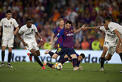 May 25, 2019 - Seville, Spain - Lionel Messi of Barcelona shooting to goal during the Spanish Copa del Rey match between Barcelona and Valencia at Estadio Benito Villamarin on May 25, 2019 in Seville. (Credit Image: © Jose Breton/NurPhoto via ZUMA Press)