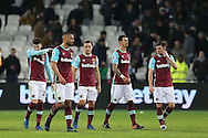 Mark Noble, the West Ham United captain © and his his teammates walk off dejected after full time. Premier league match, West Ham Utd v Manchester city at the London Stadium, Queen Elizabeth Olympic Park in London on Wednesday 1st February 2017.<br /> pic by John Patrick Fletcher, Andrew Orchard sports photography.