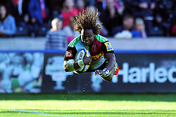 Marland Yarde of Harlequins scores his team's seventh try - Photo mandatory by-line: Patrick Khachfe/JMP - Mobile: 07966 386802 04/10/2014 - SPORT - RUGBY UNION - London - The Twickenham Stoop - Harlequins v London Welsh - Aviva Premiership