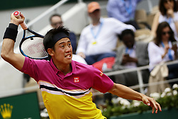 May 29, 2019 - Paris, France - Kei Nishikori of Japan in action against Jo-Wilfried Tsonga of France (not seen) during their second round match at the French Open tennis tournament at Roland Garros Stadium in Paris, France on May 29, 2019. (Credit Image: © Ibrahim Ezzat/NurPhoto via ZUMA Press)