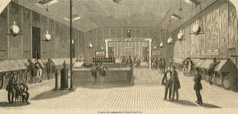 The Sanfrancisco stock exchange during the Californian Gold Rush. Engraving 1853.