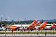 EasyJet planes are seen grounded due to the coronavirus outbreak at Gatwick Airport in Sussex, Wednesday, May 6, 2020. (Photo/ Vudi Xhymshiti)