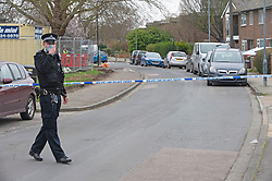 © Licensed to London News Pictures 07/03/2021. Abbey Wood, UK. A large police cordon is still in place in Abbey Wood, South East London after the fatal stabbing of a teenager last night. Police were called to reports of a fight at 5.30pm along with the London Ambulance Service. Photo credit:Grant Falvey/LNP