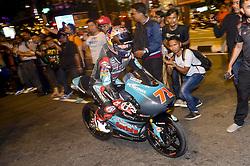 October 31, 2018 - Kuala Lumpur, Malaysia - Japanese Moto3 rider Ayumu Sasaki of SIC Racing Team rides his bike on the road in front of the Malaysia's landmark Kuala Lumpur twin tower in Kuala Lumpur, during a MotoGP pre-event ahead of Malaysian Grand Prix, on October 31, 2018. (Credit Image: © Zahim Mohd/NurPhoto via ZUMA Press)