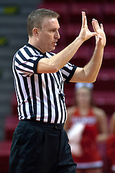 31 December 2009: Referee Eric Baker calls a foul to the officials bench. The Bulldogs of Drake fall to the Redbirds of Illinois State University by a score of 77-58in a Missouri Valley Conference game on Doug Collins Court in Redbird Arena in Normal Illinois.