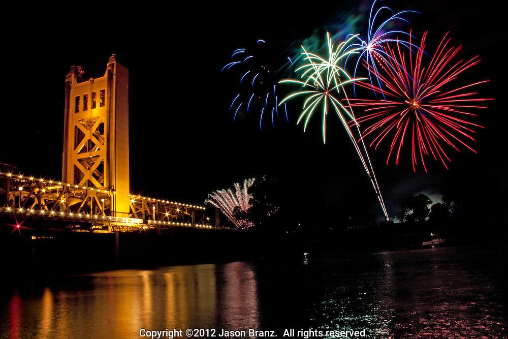 Fireworks above the Tower Bridge, Sacramento, California.