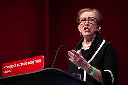 © Licensed to London News Pictures. 25/09/2021. Brighton, UK. MARGARET BECKETT speaks at the conference . The first day of the 2021 Labour Party Conference , which is taking place at the Brighton Centre . Photo credit: Joel Goodman/LNP