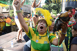 July 2, 2018 - Rio De Janeiro, Brazil - RIO DE JANEIRO, RJ - 02.07.2018: TWISTED TEAM MOVE IN RJ - Carioca fans celebrate the first goal of the Brazilian team in the game against Mexico, this Monday (02) at Alzirão in Tijuca in the northern part of the city of Rio de Janeiro, RJ. (Credit Image: © Luiz Gomes/Fotoarena via ZUMA Press)