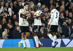 File photo dated 29-12-2018 of Fulham's Aboubakar Kamara (centre) and Fulham's Aleksandar Mitrovic (left) disagree over who will take the penalty during the Premier League match at Craven Cottage, London.