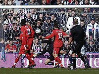 Fotball<br /> Premier League 2004/05<br /> West Bromwich v Birmingham<br /> 6. mars 2005<br /> Foto: Digitalsport<br /> NORWAY ONLY<br /> West Brom's Neil Clement (obscured) scores the first of his team's two goals