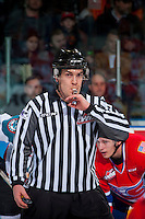 KELOWNA, CANADA - FEBRUARY 17: Linesman Kevin Crowell blows the whistle on February 17, 2017 at Prospera Place in Kelowna, British Columbia, Canada.  (Photo by Marissa Baecker/Shoot the Breeze)  *** Local Caption ***