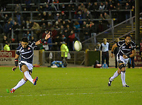 Conwy, UK. Friday, 15 November 2013<br /> Pictured: Ayumu Goromaru of Japan scores a penalty.<br /> Re: Japan v Russia rugby at Parc Eirias, Conwy, North Wales, United Kingdom.