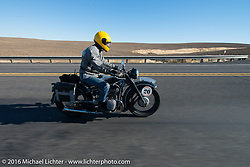 Denis Sharon riding his 1936 BMW r12 during Stage 15 (244 miles) of the Motorcycle Cannonball Cross-Country Endurance Run, which on this day ran from Lewiston, Idaho to Yakima, WA, USA. Saturday, September 20, 2014.  Photography ©2014 Michael Lichter.