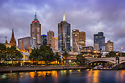 Melbourne Skyline and Princes Bridge at Dusk