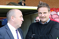 John Coleman, the Accrington Stanley manager (l) and Neal Ardley, the AFC Wimbledon manager chat before k/o. Skybet football league two play off semi final, 1st leg match, AFC Wimbledon v Accrington Stanley at the Cherry Red Records Stadium in Kingston upon Thames, Surrey on Saturday 14th May 2016.<br /> pic by John Patrick Fletcher, Andrew Orchard sports photography.