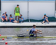Poznan, POLAND, 22nd June 2019, Saturday,  GBR M1X, Tom BARRAS, passing the Photographers, During his Semi final in the Men's Single Sculls, competing, in the FISA World Rowing Cup II, Malta Lake Course, © Peter SPURRIER.<br /> <br /> 13:15:13