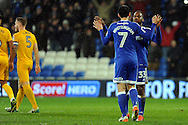 Cardiff City's Peter Whittingham (7) celebrates with Junior Hoilett (33) after he scores his teams 1st goal from a penalty to make it 1-0. EFL Skybet championship match, Cardiff city v Preston North End at the Cardiff City stadium in Cardiff, South Wales on Tuesday 31st January 2017.<br /> pic by Carl Robertson, Andrew Orchard sports photography.