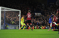 Football - 2018 / 2019 EFL Carabao Cup (League Cup) - Quarter-Final: Chelsea vs. AFC Bournemouth<br /> <br /> Eden Hazard of Chelsea (right) scores the only goal of the match, as the ball flies past goalkeeper, Artur Boruc after a heavy deflection at Stamford Bridge.<br /> <br /> COLORSPORT/ANDREW COWIE