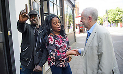 © Licensed to London News Pictures. 10/06/2017. London, UK. Leader of the Labour Party JEREMY CORBYN is greeted by local residents as he leaves his London home. The Labour party made significant gains earlier this week in a general election The Conservative Party were expected to win comfortably. Photo credit: Ben Cawthra/LNP