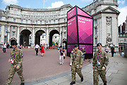 British army on duty as security as military take up the slack at Horse Guards Parade and the Mall, which was home to many events during the London 2012 Olympics Games.
