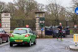 © Licensed to London News Pictures. 09/02/2020. London, UK. Drivers and runners are turned away at Richmond Gate in Richmond Park as it closes its gates to the public. Storm Ciara hits London and the South East as Richmond Park and 7 other Royal Parks close their gates this morning as weather experts predict stormy weather with very high winds and heavy rain for Sunday. Photo credit: Alex Lentati/LNP