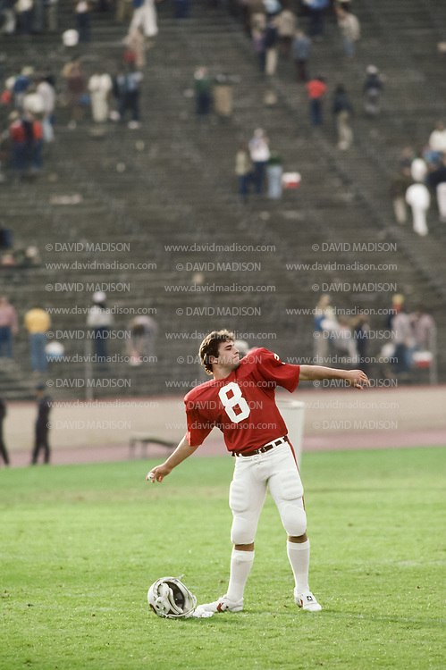 COLLEGE FOOTBALL:  Mark Hamron #8, Stanford, on field after a game in October 1981 at Stanford Stadium in Palo Alto, California.  Photograph by David Madison ( www.davidmadison.com ).