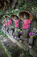 Jizo at Jimuji Temple, Zushi - Jizo images and statues are popular in Japan as Bodhisattva who console beings awaiting rebirth as well as comfort for travelers. As such they are often found along roadsides, paths or even street corners.