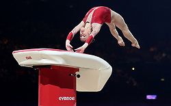 France''s Carolann Heduit in action on the Vault during the Gymnastics World Cup at The Resorts World Arena, Birmingham.