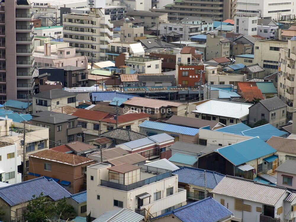 overhead view of urban housing environment near Tokyo Asia Japan