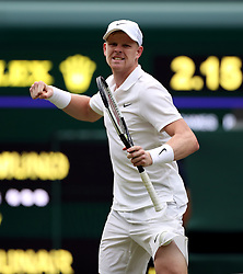 Kyle Edmund celebrates winning his match on day one of the Wimbledon Championships at the All England Lawn Tennis and Croquet Club, Wimbledon.