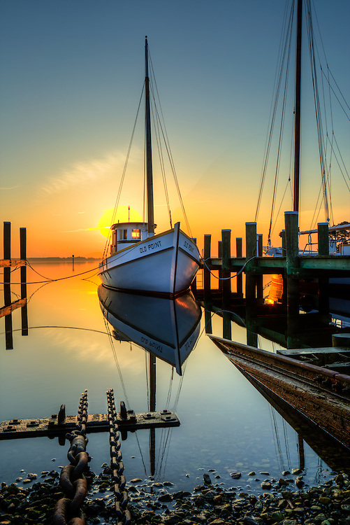 boats at the Saint Michael dock in St michaels maryland at sunrise