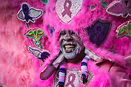 2/17/15, New Orleans, LA, Mardi Gras Day,  Albert Polite Jr., AKA Spy boy a member of the Fi-Yi-Yi  Mardi Gras Gras Indian Tribe wears a cancer awareness themed suit to honor his wife, Mary who died from breast cancer.