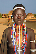 Africa, Ethiopia, Omo valley, portrait of a young girl Arbore tribe