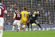 Ashley Barnes of Burnley shoots and scores his teams 3rd and match winning goal. Premier League match, Burnley v Crystal Palace at Turf Moor in Burnley , Lancs on Saturday 5th November 2016.<br /> pic by Chris Stading, Andrew Orchard sports photography.