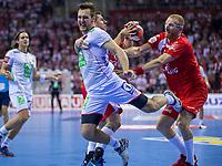 BILDET INNGÅR IKKE I FASTAVTALER. ALL NEDLASTING BLIR FAKTURERT.<br /> <br /> Håndball<br /> EM 2016<br /> Polen v Norge<br /> 23.01.2016<br /> Foto: imago/Digitalsport<br /> NORWAY ONLY<br /> <br /> 23.01.2016, Krakow, EHF EURO 2016 , European Handball Federation EURO 2016 , Poland - Norway,  Christian O'Sullivan (NOR), Rafal Glinski (POL), Karol Bielecki (POL),