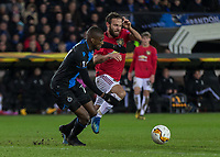 Football - 2019 / 2020 UEFA Europa League - Round of Thirty-Two, First Leg: Club Bruges vs. Manchester United<br /> <br /> Juan Mata (Manchester United) and Clinton Mata (Club Brugge) tangle for the ball at Jan Breydel Stadium.<br /> <br /> COLORSPORT/DANIEL BEARHAM