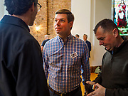 27 APRIL 2019 - STUART, IOWA: US Representative ERIC SWALWELL, a Democratic candidate for the party's nomination for the US Presidency, talks to Iowa voters after his speech at the Reaching Rural Voters Forum in Stuart. The forum was an outreach by Democrats in Iowa's 3rd Congressional District to mobilize Democratic voters statewide. Iowa saw one of the largest shifts from Democrats to Republicans in the 2016 Presidential election and Trump won the state by double digits. Republicans control the governor's office and both chambers of the Iowa legislature. Iowa traditionally hosts the the first selection event of the presidential election cycle. The Iowa Caucuses will be on Feb. 3, 2020.                                   PHOTO BY JACK KURTZ