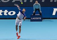 Tennis - 2017 Nitto ATP Finals at The O2 - Day Five<br /> <br /> Group Boris Becker Singles: Roger Federer (Switzerland) Vs Marin Cilic (Croatia)<br /> <br /> Marin Cilic (Croatia) serves at the O2 Arena<br /> <br /> COLORSPORT/DANIEL BEARHAM