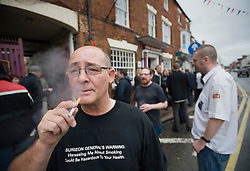 © licensed to London News Pictures. 16/07/2011. Stony Stratford, UK. Campaigners  hold a meeting in Stony Stratford, Buckinghamshire today (16/07/2011) to fight a proposal to ban smoking in all public places in the town. The ban, which will be voted on this Tuesday,  would turn Stony Stratford into Britain's first smoke free town. Photo credit should read Ben Cawthra/LNP