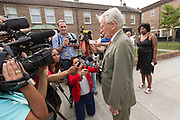 Charleston Mayor Joe Riley speaks to the media gathered outside the Fieldings Funeral home where the viewing for Walter Scott was held April 10, 2015 in Charleston, South Carolina. The mayor expressed his sorry for the Scott family after he was shot multiple times in the back by police in the neighboring city of North Charleston.