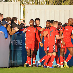 TELFORD COPYRIGHT MIKE SHERIDAN 1/1/2019 - GOAL. Telford players celebrate with the fans after Henry Cowans scores to make it 2-1 during the Vanarama Conference North fixture between AFC Telford United and Nuneaton Borough FC.