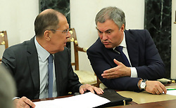 October 2, 2018 - Moscow, Russia - October 2, 2018. - Russia, Moscow. - Russian Minister of Foreign Affairs Sergey Lavrov (left) and Russian State Duma Chairman Vyacheslav Volodin talk ahead of a meeting of the Russian Security Council. (Credit Image: © Russian Look via ZUMA Wire)
