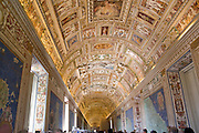 Italy, Rome, Interior of The Vatican Museum Ceiling of the Hall of Maps